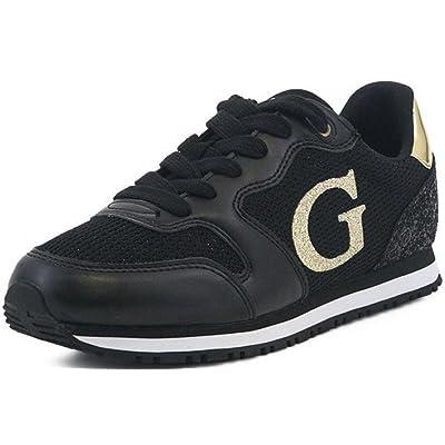 dd0074184882a2 #Guess Johnny 2 Active Noir Gold Femmes Cuir Formateurs Chaussures