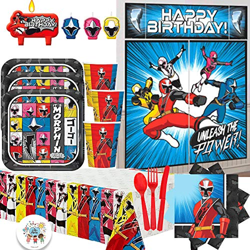 Power Rangers Ninja Steel Deluxe MEGA Birthday Party Supply Pack For 16 With Dessert Plates, Napkins, Cups, Tablecover, Candle, Scene Setter, Cutlery, and Exclusive Pin By Another Dream! -