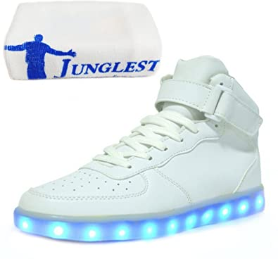(Presente:peque?a toalla)Blanco EU 37, de del los Led alto top unisex transpirable y roja para arriba luz del la zapatillas zapatos Adultos moda para A