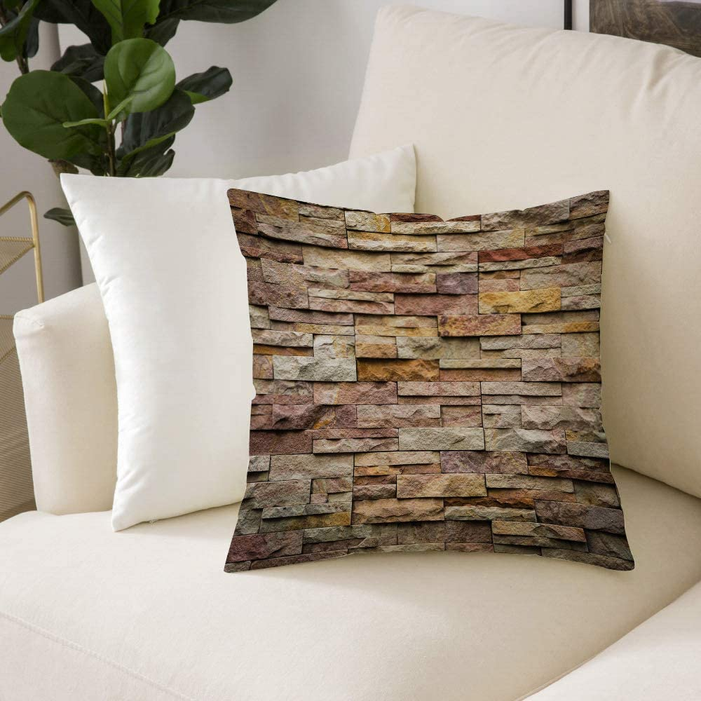 Square Cushion Cover Marble Urban Brick Slate Stone Wall With Rocks Featured Facade Architecture Throw Pillow Case Cushion Covers Pillowcases For Livingroom Sofa Bedroom With Invisible Zipper 50x50 Cm Amazon Co Uk Kitchen Home