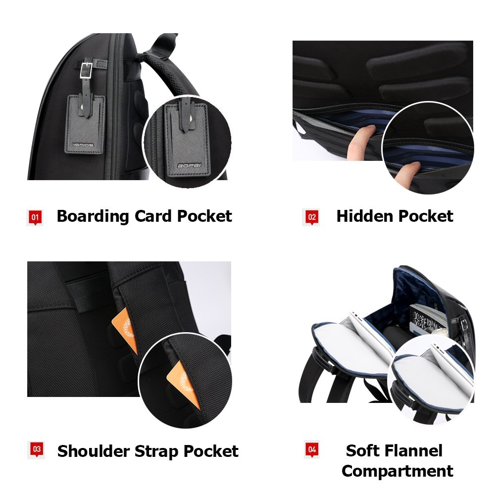 Bopai 40L Leather Backpack for Men 15.6 inch Laptop Backpack with USB Charging Business Travel Backpack for Men 2018.7.31