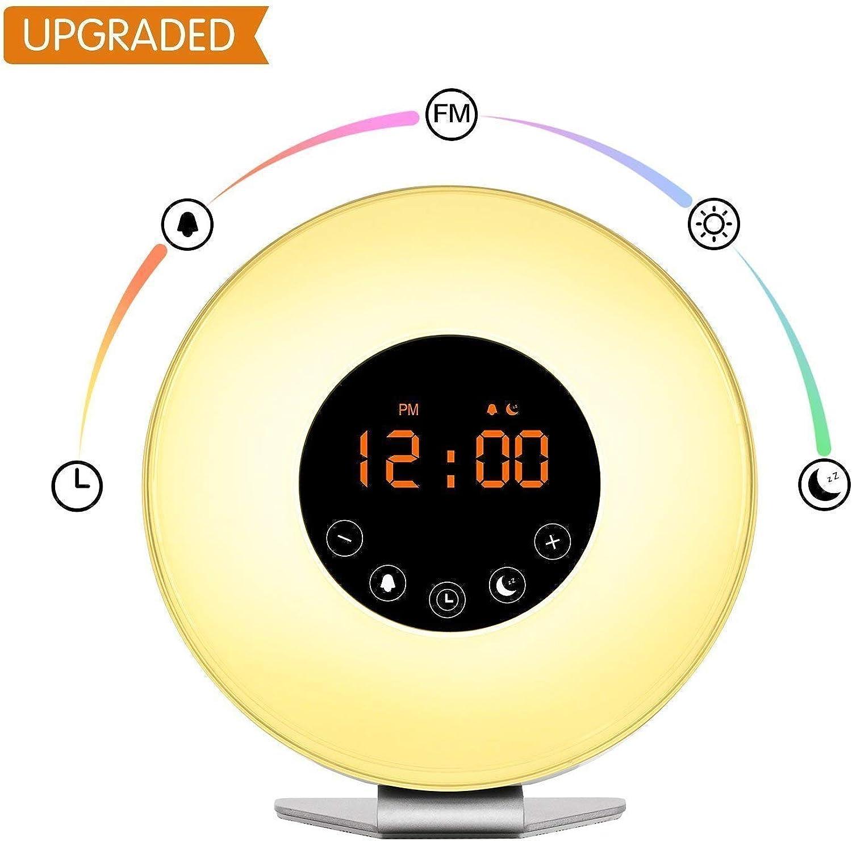 Wake up Light Digital Clock with 6 Nature Sounds & Radio Sunrise ...