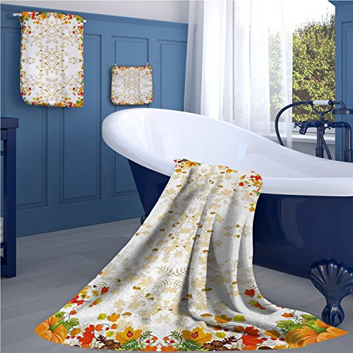 familytaste Thanksgiving Fashion towel combination Fall Colors Ladybug Maple Leaf Woods Pine Nuts Berries Design Pattern cotton hand towels set WhiteYellow Orange ()