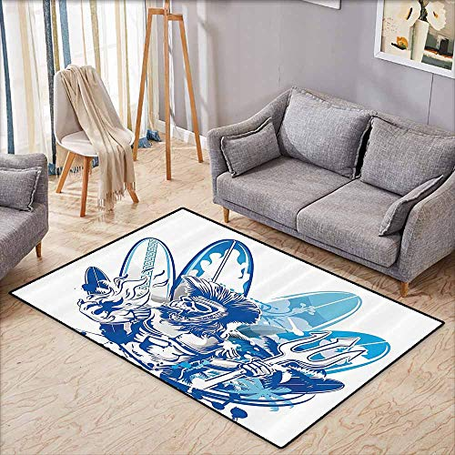Floor Rug Pattern Surfboard Decor Collection Poseidon Death Surfer on Surfboard Skull Ancient Titan Mythology Myth Pitchfork Image Navy Blue Quick and Easy to Clean W5'2 xL3'2 (Best Surf Spots In Puerto Rico)