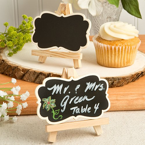 144 Natural Wood Easel And Blackboard Placecard Holders