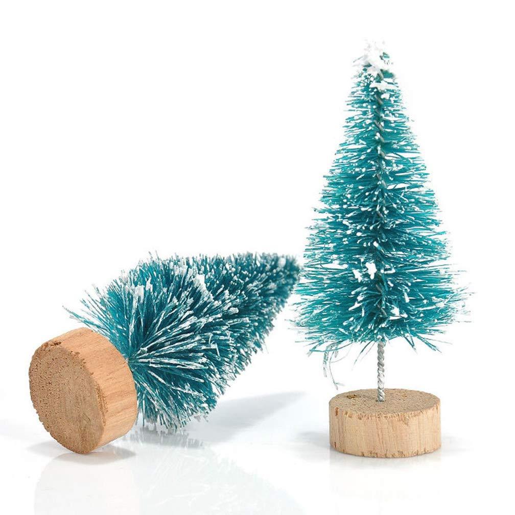 WAOBE Árbol De Navidad En Miniatura, 12/24 / 36 PC Mini Sisal Nieve Helada Navidad Árboles Botella Cepillo Árboles De Plástico, con Letras De Feliz Navidad ...
