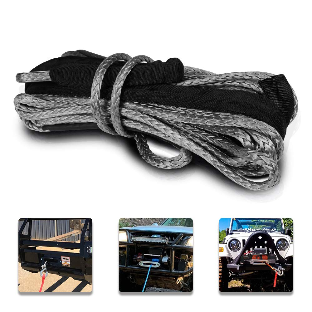 Orange 4x15 ZESUPER Synthetic Winch Rope1//6x 50 8000LBs Winch Rope Cable with Sheath Winches for Winches SUV ATV UTV Vehicle Boat Ramsey Car