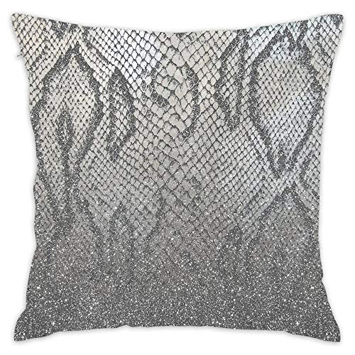 (Hwensona Shimmer (Silver Snake Glitter Abstract) Square Decorative Pillow Case Decor Throw Pillow Cover with Hidden Zipper for Bedroom Sofa 18