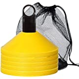 IROCH 50 Pack Soccer Cones Disc Cone Sets with Holder and Bag for Training,Field Cone Markers Football,Kids,Sports