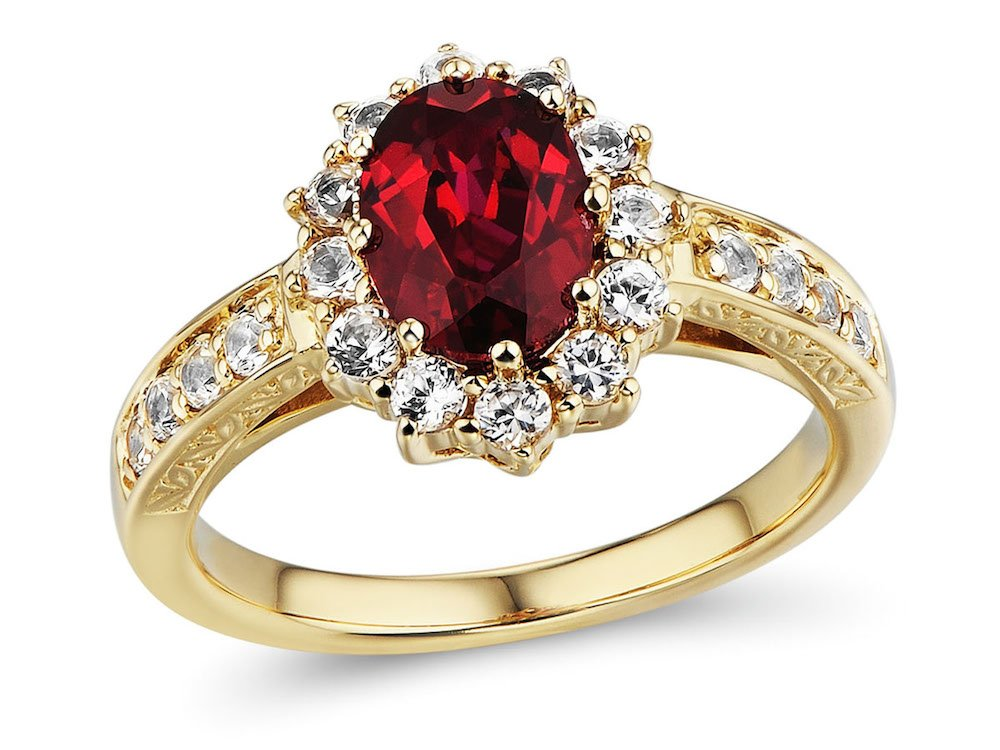 10k Yellow Gold Lab Created Ruby Ring with Lab Created White Sapphire Halo Filigree Engraving - Ring Size 9 by Diamond Classic Jewelry