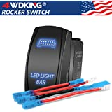 LED Light Bar Rocker Switch - 4WDKING Momentary On/Off Push Button Toggle Switch with Jumper Wire 5 Pins Blue LED Lights 20A 12V. (Blue Light - LJ34)
