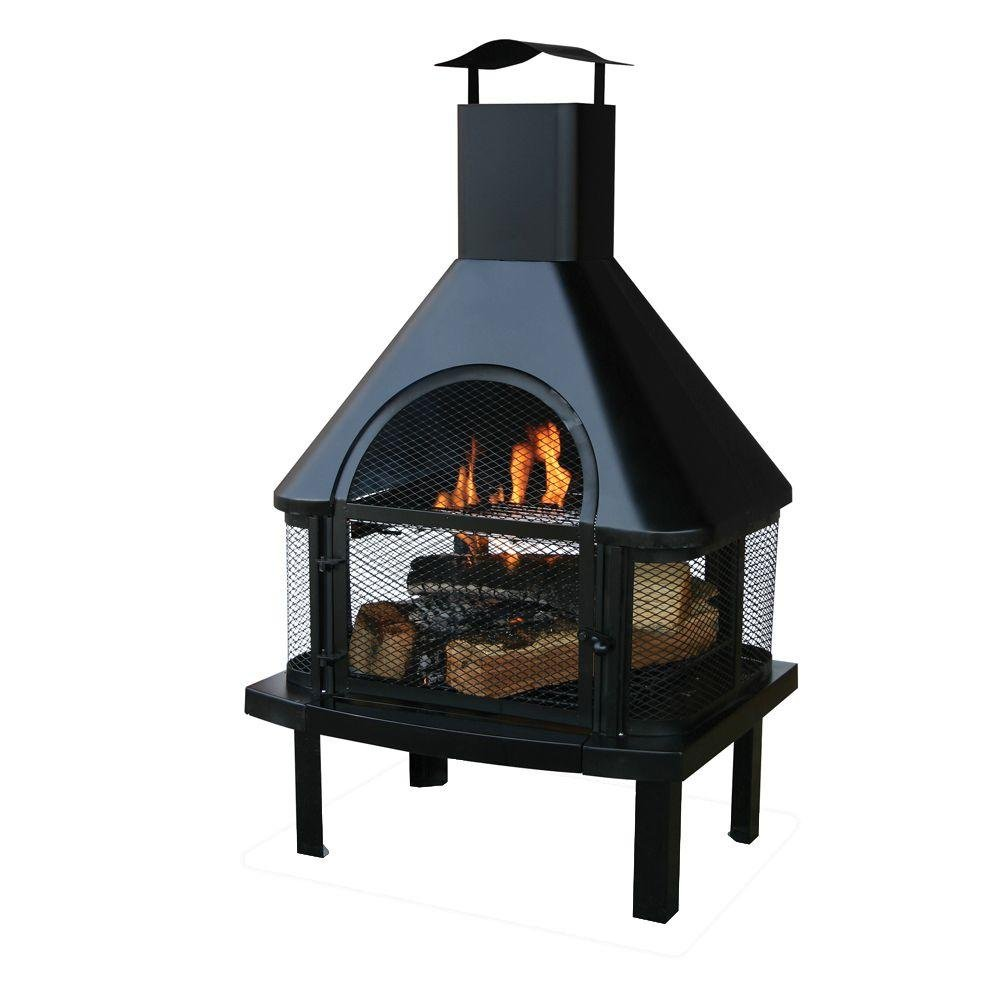 Sturdy High and Easy Access Door with this 45 in. Outdoor Fireplace with Chimney by Uniflame