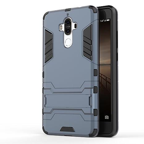 Apanphy Huawei Mate 9 Carcasa, Híbrida de Silicona + Polycarbonato Doble Resistencia, y soporte para mesa - Azul oscuro