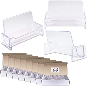 Beauticom 100 Pieces - Clear Plastic Business Card Holder Display Desktop Countertop (Style # 3)