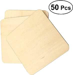 VORCOOL 50 Unids 5x5 cm Taza de Madera Coaster Square Simple Resistente Al Calor Titular de la Taza Pad Caf/é S/ólido Tea Bowl Holder Pad