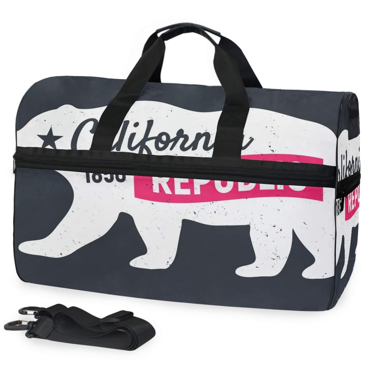 Travel Duffel Bag California Republic Bear Waterproof Lightweight Luggage bag for Sports Gym Vacation