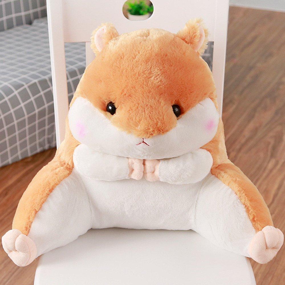 Lovely Hamster Waist Back Pillow Animals Soft Plush Sofa Bed Car Lumbar Cushion (Brown)