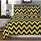 Gold and Black Chevron 8-piece California-King Bed-in-a-Bag 100 % Egyptian Cotton 300 Thread Count by Royal Hotel