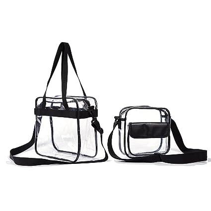 ddaa75c09f65 Clear Cross Body Messenger Tote Shoulder Zippered Bag (8x8x3)+ See ...