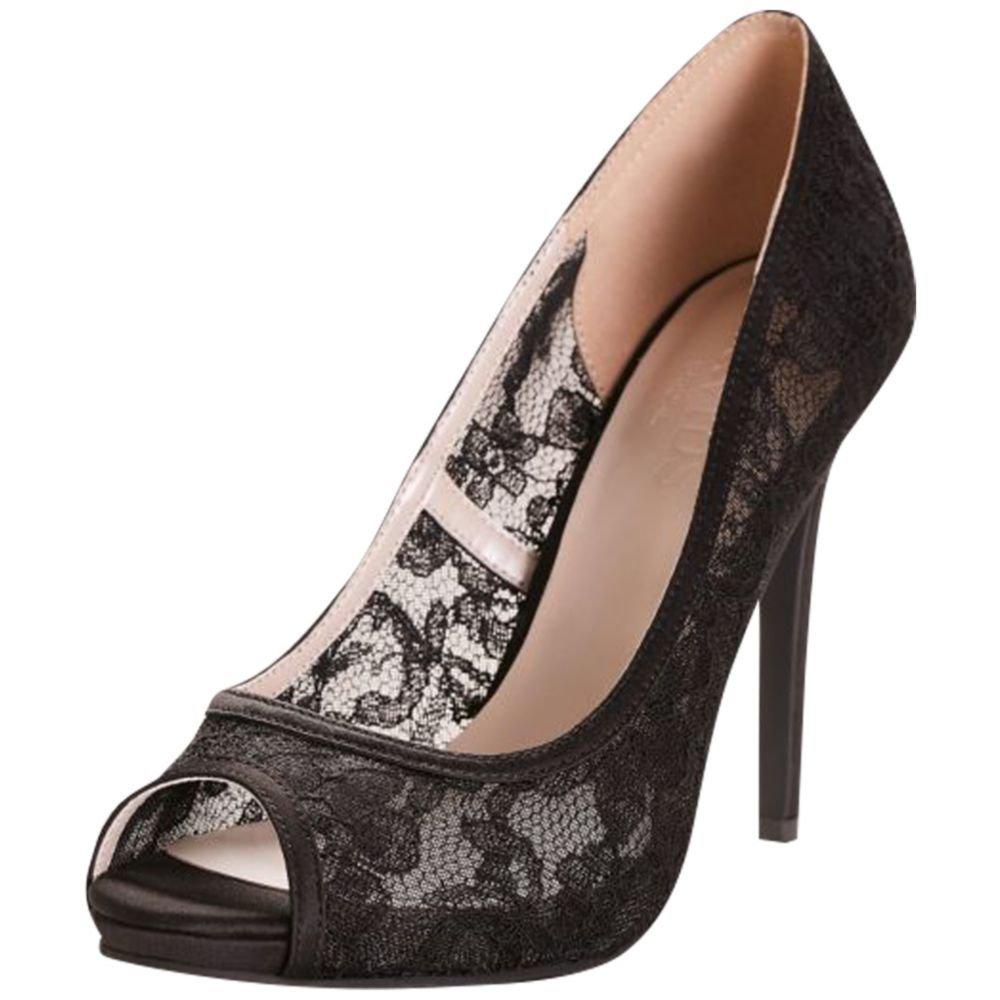 David's Bridal Illusion Lace Peep-Toe Pumps Style Jade, Black, 10