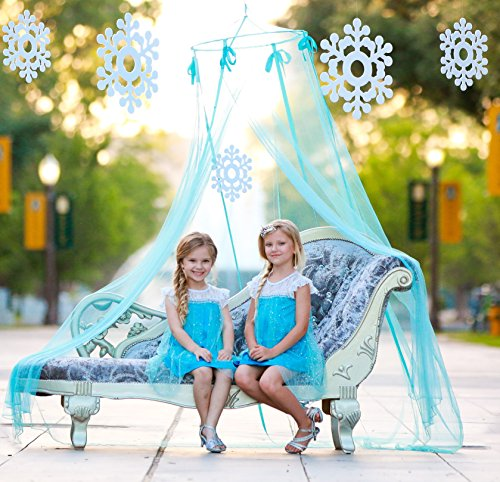 Canopy Bed Bedroom Set (Frozen Elsa Princess Castle Bed Canopy and Hanging Snowflakes Set for Girls Room and Party)