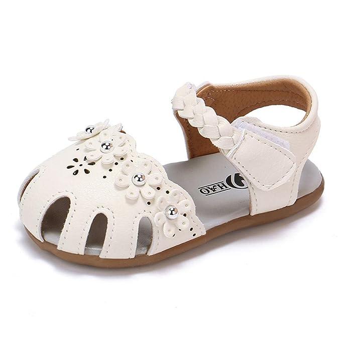 44946b5b4d8bd Zapatos de Verano para Bebé 💋💝 Yesmile Sandalias de PU para Niñas  Pequeñas Romanas Zapatillas Huecas con Bucle de Gancho Chancletas Flores de  Verano  ...