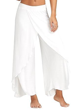 Minetom® SexySummer Tobillo-ength ancha Ej OOSE pantalones Palazzo Yoga Pantalones Eu para Mujer Blanco L