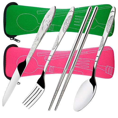 (8 Pieces Flatware Sets Knife, Fork, Spoon, Chopsticks, SENHAI 2 Pack Rustproof Stainless Steel Tableware Dinnerware with Carrying Case for Traveling Camping Picnic Working Hiking(Green,Pink))