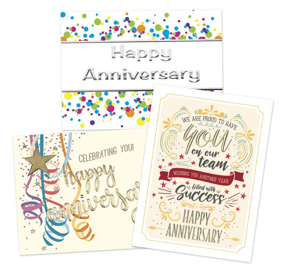 50 Employee Anniversary Cards - 3 Unique Designs - 52 White and Vanilla Envelopes - Eco Friendly
