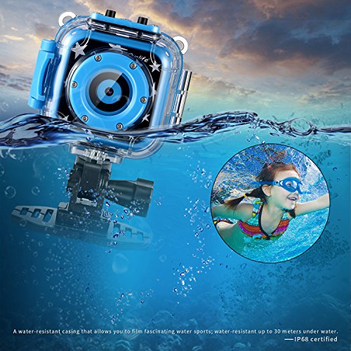Ourlife kids Waterproof Camera with Video Recorder includes 8GB memory card (Blue) by Ourlife (Image #5)
