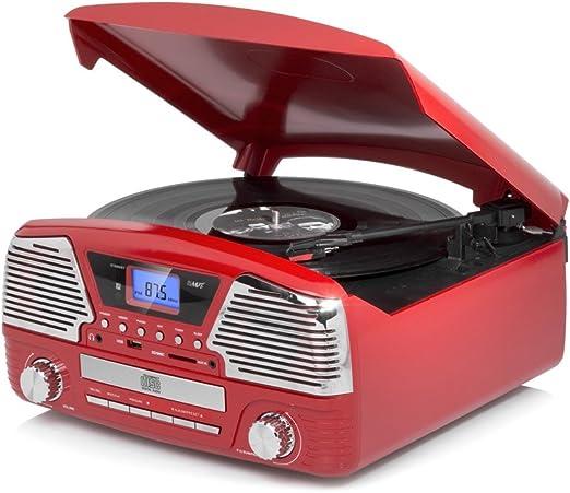 Dmail - Radio tocadiscos multifunción vintage - color rojo: Amazon ...