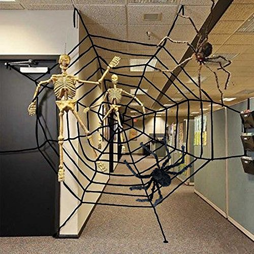 Garma Multi-Size Spider Web for Halloween Decorations, Virtual Realistic Spider Web, Black or White (8.5FT, Black)]()