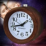 YIDULA Classic Silent Small Round Analog Wood Non Ticking Alarm Clocks for Bedrooms Bedside Alarm Clock Battery Operated with Nightlight (walnut)
