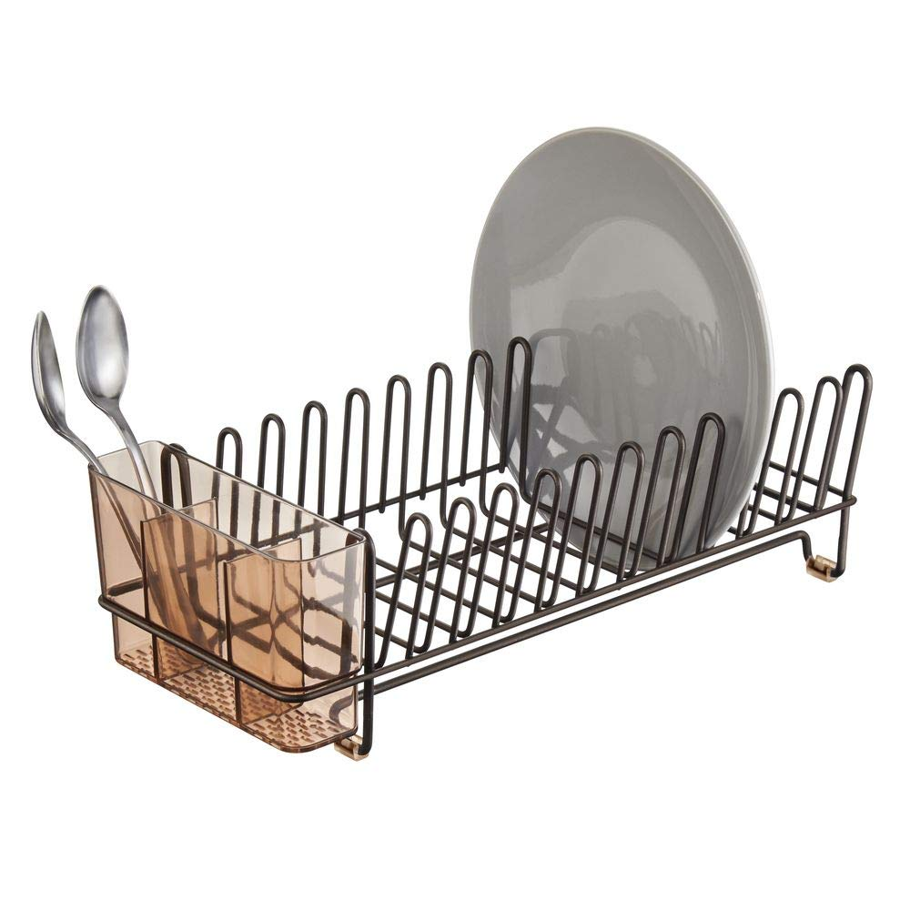 Sink Dish Drying Rack Drain and Dry Wine Glasses mDesign Compact Modern Kitchen Countertop Bowls and Dishes Metal Wire Drainer in Bronze with Amber Brown Caddy Removable Cutlery Tray