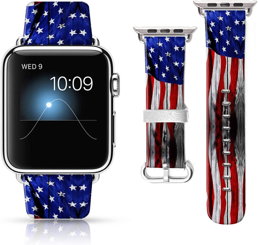 LAACO Leather Band Compatible with iWatch SE Series 6 38mm 40mm, Genuine Leather Fadeless Pattern Printed Vintage Replacement Strap Classic Bands Compatible with iWatch 6/5/4/3/2/1 Wood Stripe Flag