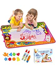 EpochAir Water Drawing Mat, Kids Toys Aqua Doodle Painting Mat with 6 Colors 2 Magic Pens 1 Brush 86 x 57CM Educational Learning Colouring Set Gifts for Girls Boys Toddlers Indoor Outdoor Garden Game