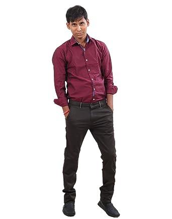 Indiweaves Men Cotton Semi Formalcasual Wear Black Color Trouser