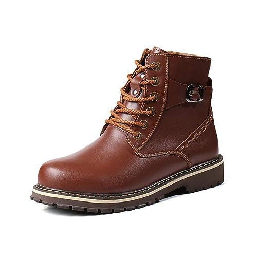 ailishabroy Botas De Tobillo Para Hombre Calor De Invierno Con Cordones Casual Clásico Marrón Oxfords (