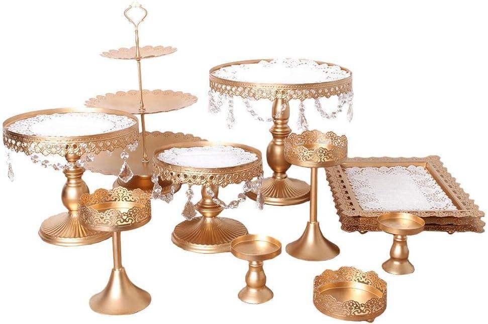 yizhi2325 12 Unidades/Juego de Exhibición de Soportes de Torta, Tenedor de Postre, Estante para Banquetes de Boda de Hierro Forjado Decoración de la Mesa de Rack de Cristal