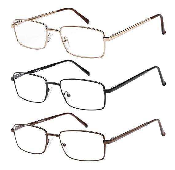 d8fb87c77d4e Reading Glasses Set of 3 Metal Full Rim Glasses for reading for Men and  Women +