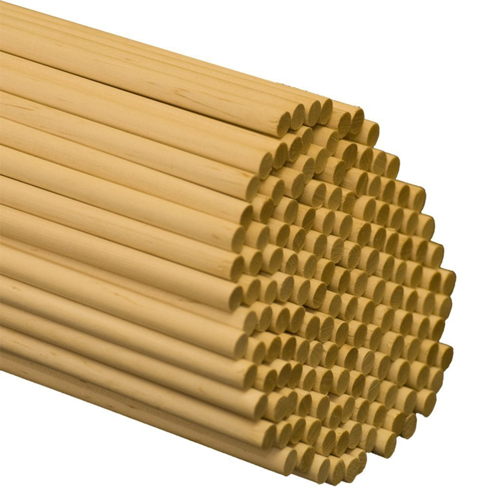 5/16 x 48 Inch Wooden Dowel Rods - Bag of 50 - Unfinished Hardwood Dowels for Crafts & Woodworking by Woodpeckers