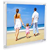 Clear Acrylic Wall Mount Floating Frameless Picture Frame Up to 16x20 Photo for Poster Photography Frames-Double Panel(Full Frame is 18x22 inch)