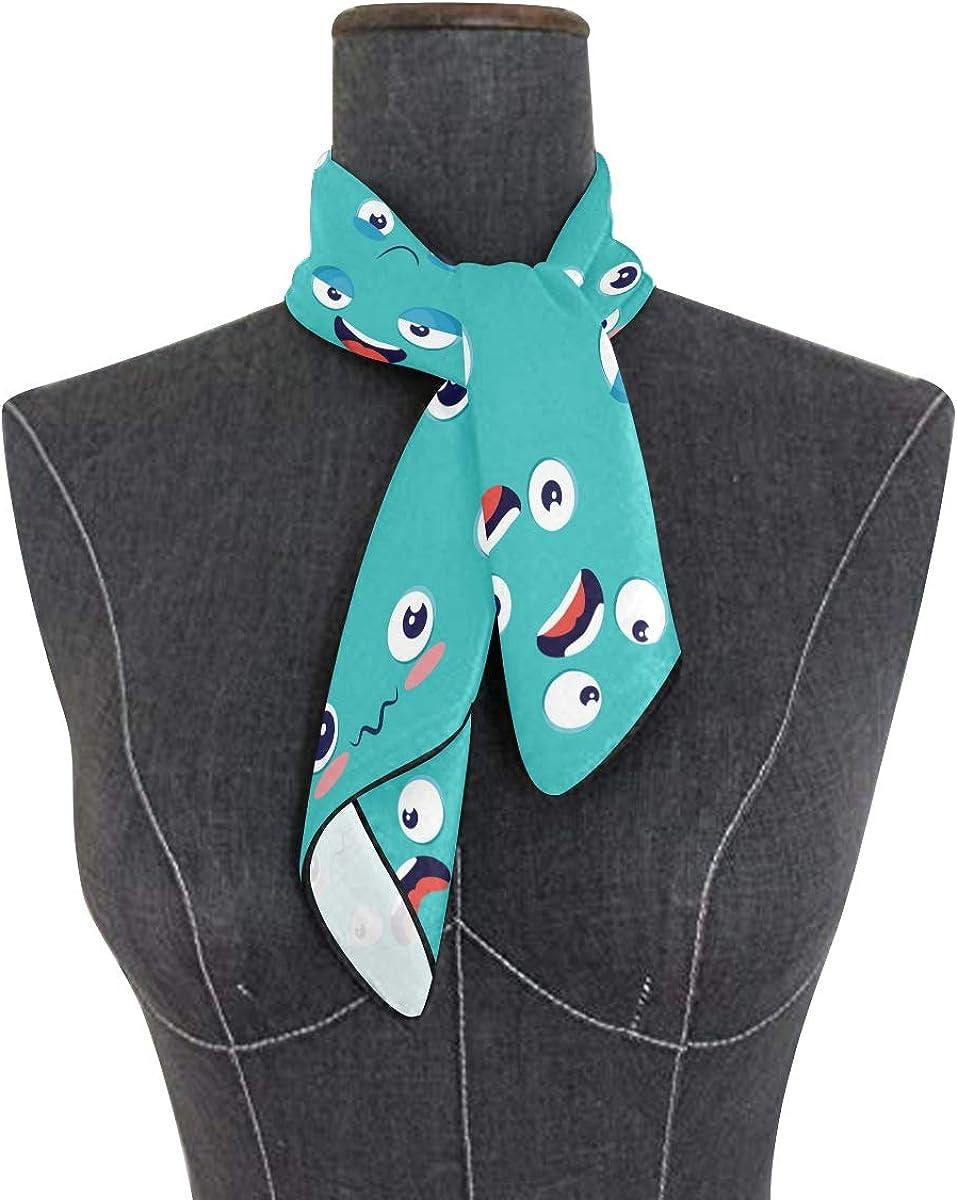 XLING Fashion Square Scarf Funny Emotion Emoticon Pattern Lightweight Sunscreen Silk Scarves Muffler Hair Wrap Headscarf Neckerchief for Women Men