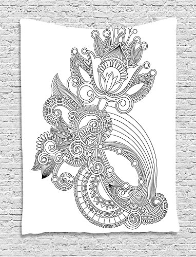 asddcdfdd Henna Tapestry, Hand Drawn Line Art Blossoming Organic Nature Flower Ornate Motif Antique Ancient, Wall Hanging for Bedroom Living Room Dorm, 60 W X 80 L Inches, Black White by asddcdfdd