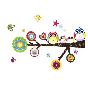 Cadillaps Cartoon Eule Baum Wall Sticker Märchen Wandtattoo Kinderzimmer  Dekor