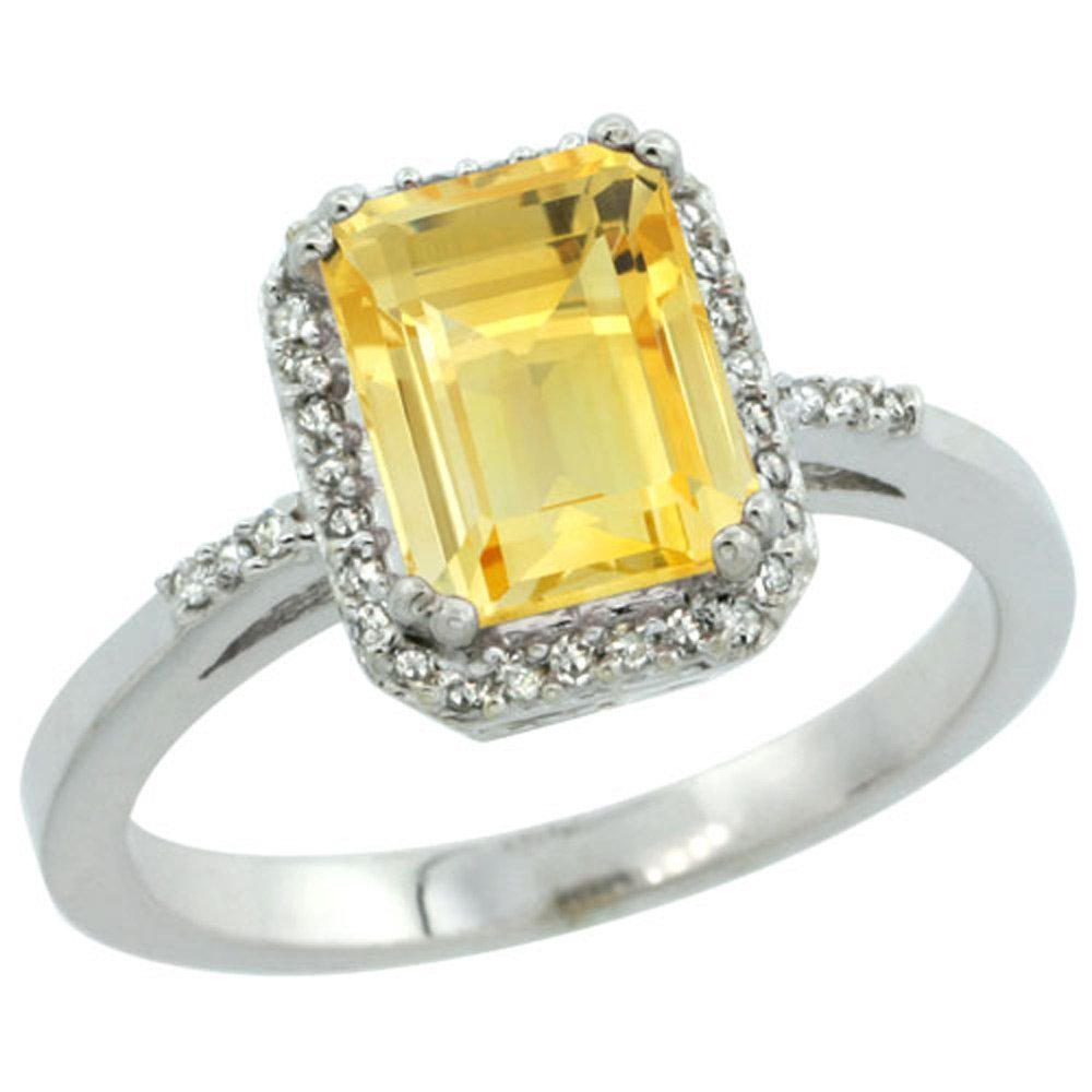 Sterling Silver Diamond Natural Citrine Ring Emerald-cut 8x6mm, 1/2 inch wide, size 6