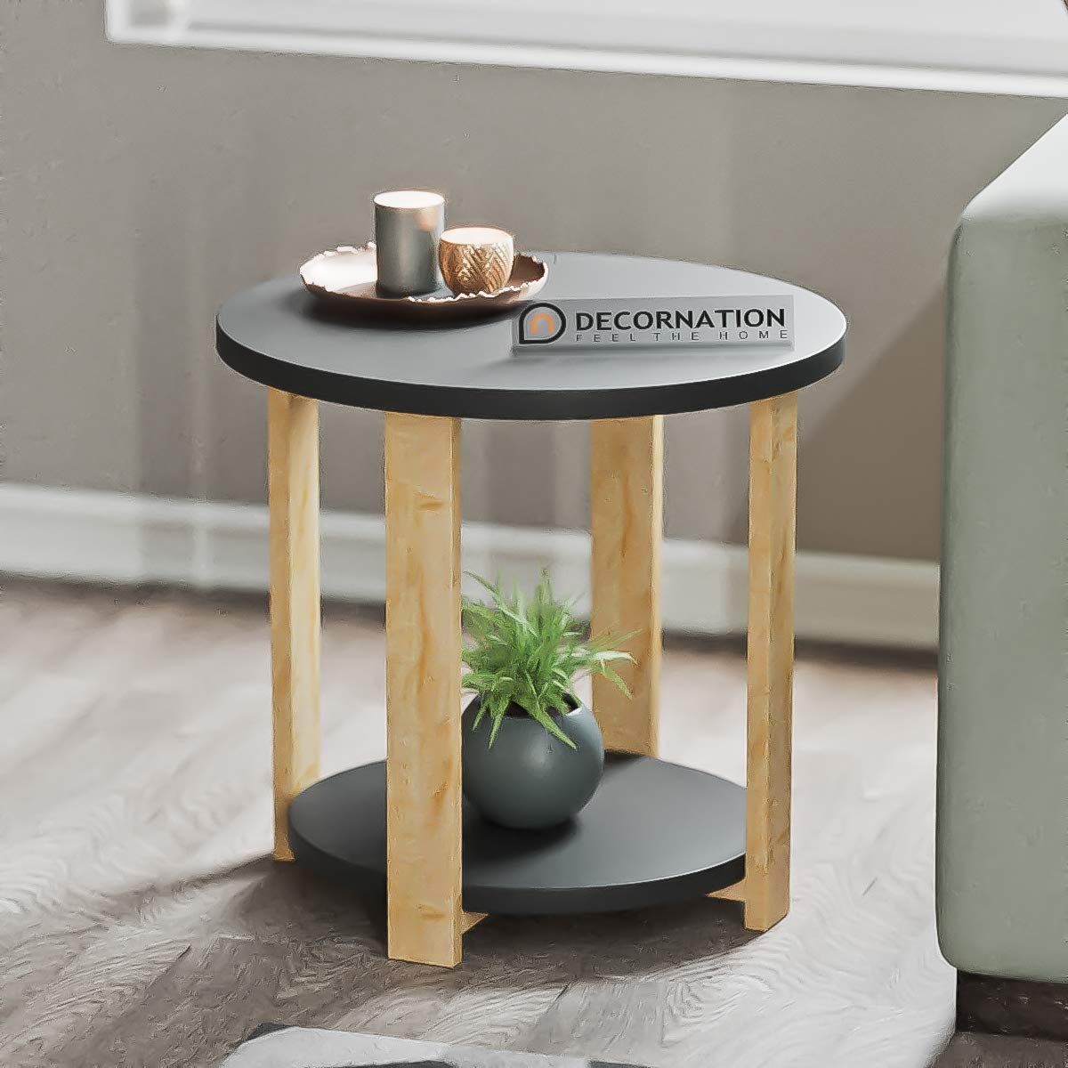 Decornation Juno Modern Round Side Table Mdf End Table With Storage Shelf For Living Room Bedroom Office Furniture Black With Natural Legs Buy Online In Dominica At Dominica Desertcart Com Productid 177598516