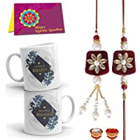 Tonkwalas Rakhi for Brother and Bhabhi Gift Pack (Designer Lumba Rakhi Set, 2 Printed Coffee Mug, Rakshabandhan Special Card, Roli Chawal)