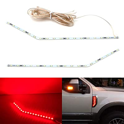 iJDMTOY Sports Red LED Background Illumination Kit Compatible With 2020-2020 Ford F250 F350 F450 Super Duty Side Fender Chrome Emblem: Automotive
