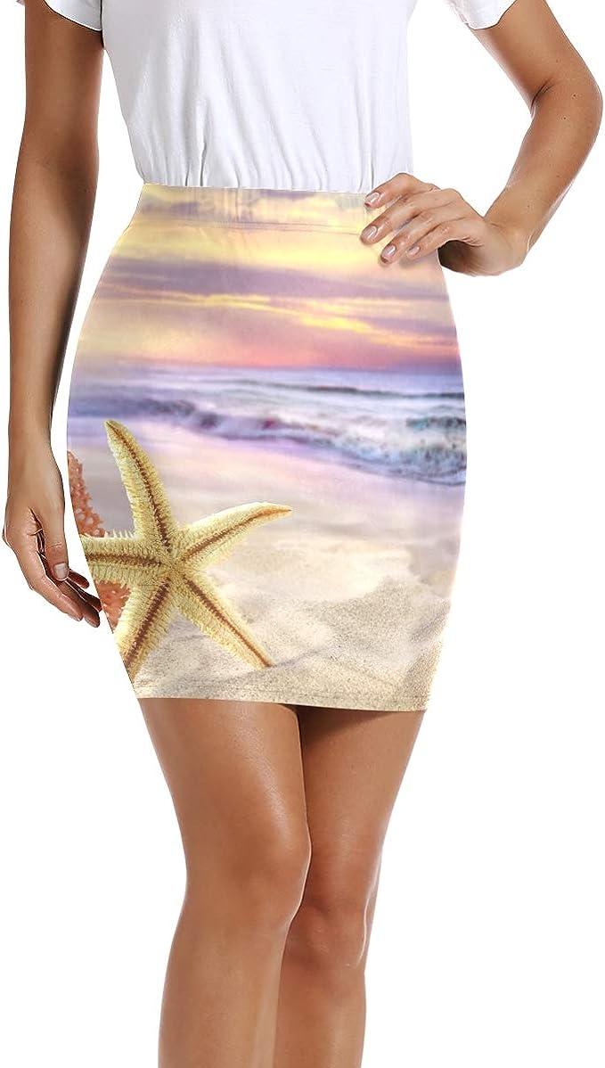 LUPINZ Mini Falda elástica Ajustada con Estampado de Estrellas de ...